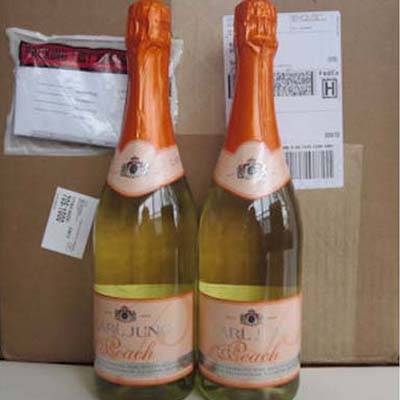 2 Cases (24 btles) of Sparkling Peach Non Alcoholic Wine